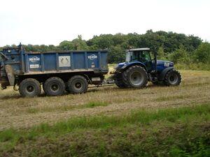 MF 7495 mit Tebbe-Universalstreuer 18m³